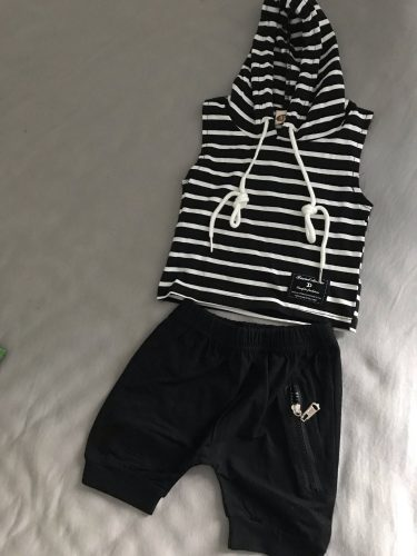 2020 Baby Summer Clothing Toddler Baby Boy Clothes Sleeveless Hooded Stripe Top Shirt Zipper Shorts 2Pcs Sets Outfit photo review