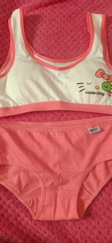 Girls Puberty Bra Set Children's Underwear Without Steel Ring Candy Color Training Bras for Teenagers Cotton Sport Underwear Set photo review