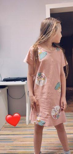 Unicorn Cotton Nightdress Little Teen Girl Pajamas Dresses Children Cartoon Summer Nightgown Home Clothes Kids Sleepwear Gecelik photo review