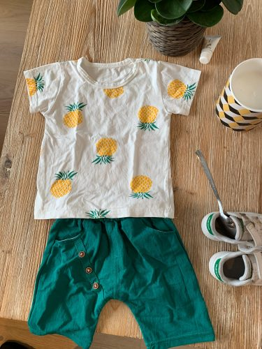 Baby Boys Girls Summer Clothes Fashion Cotton T-shirt Infant Printed Pineapple Suit for Children Top Shorts Casual Outfits photo review