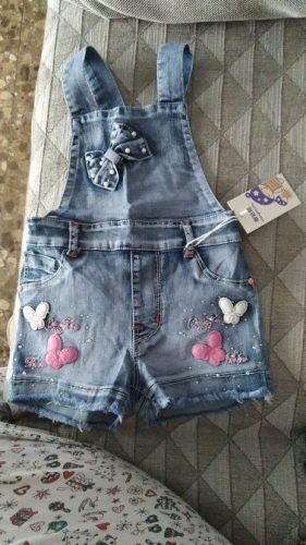 2019 SPRING Summer US Style Girl Jumpsuit Cute Sweet Fashion Washed Jeans Denim Romper Jumpsuits Straps Short Pants Cowboy Blue photo review