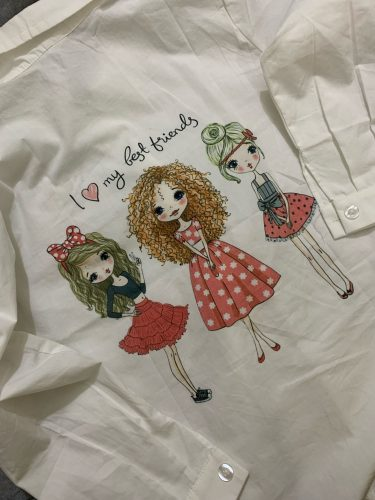 Girls Blouse 2020 Spring Children Clothes Cartoon Rabbit Long Sleeve Tops White Blouses for 8 To 12 Years Teenage Girls Shirt photo review