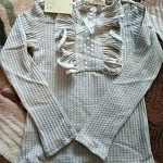 Girl Lace Ruffle Collar Shirt Child Clothing Gray/ White Autumn Long Sleeve Little Girls Kids Cotton Blouse Wedding Party Blusas photo review