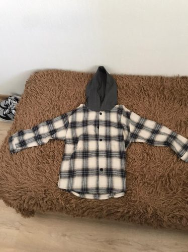 Children's Clothe Blouses 2021 Spring Autumn Baby Boys And Girls Hooded Plaid Shirts Kids 2-7 years Cotton Blouse school clothes photo review